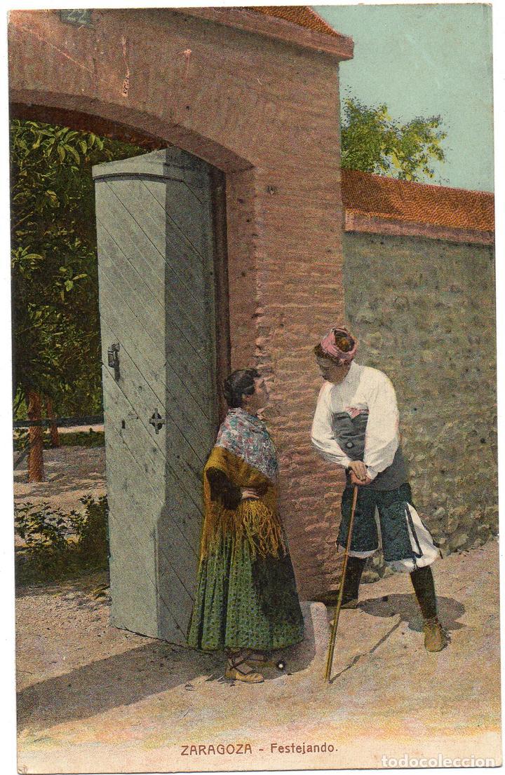 PS7538 ZARAGOZA 'FESTEJANDO'. CIRCULADA. 1911 (Postales - España - Aragón Antigua (hasta 1939))