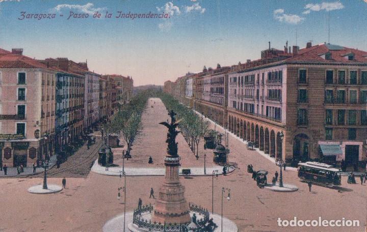 POSTAL ZARAGOZA - PASEO DE LA INDEPENDENCIA - M ARRIBAS - ARAGON (Postales - España - Aragón Antigua (hasta 1939))