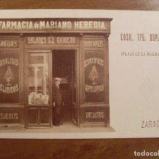 Postales: ZARAGOZA / FARMACIA DE MARIANO HEREDIA /. Lote 84533460