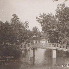 Postales: ALHAMA DE ARAGON (ZARAGOZA) TERMAS DE MATHEU Y SAN FERMIN - PUENTE EN EL LAGO. Lote 86504584