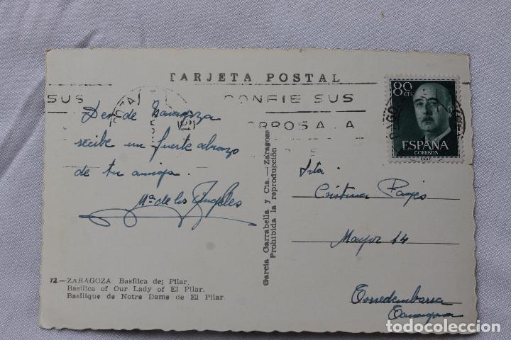 Postales: POSTAL, ZARAGOZA, BASILICA DEL PILAR, TROQUELADA, DIRIGIDA A TORREDENBARRA - Foto 2 - 92037035