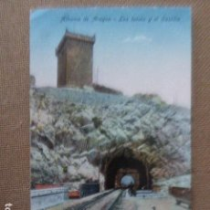 Postales: ALHAMA DE ARAGON. LOS TUNELES Y EL CASTILLO. CLICHES M. ARRIBAS. ESCRITA. Lote 94040775