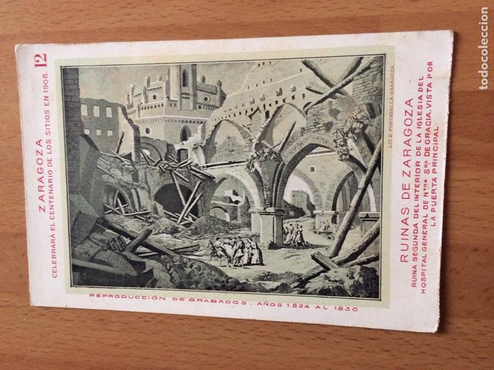 ANTIGUA POSTAL RUINAS DE ZARAGOZA.CELEBRARA EL CENTENARIO DE LOS SITIOS 1908.IGLESIA HOSPITAL 12 (Postales - España - Aragón Antigua (hasta 1939))