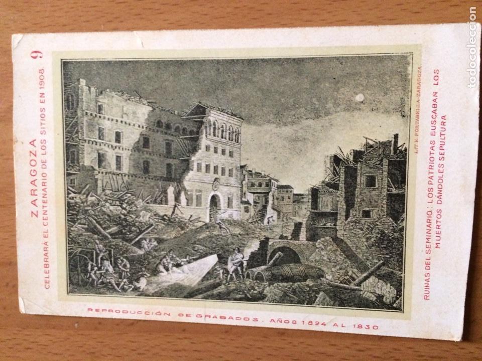 ANTIGUA POSTAL ZARAGOZA.CELEBRARA EL CENTENARIO DE LOS SITIOS 1908.RUINAS SEMINARIO 9 (Postales - España - Aragón Antigua (hasta 1939))