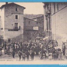 Postales: TAMARITE DE LITERA (HUESCA). PLAZA DE LA YGLESIA (IGLESIA). P. Y. NO CIRCULADA. REVERSO DIVIDIDO. Lote 95041611