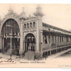 Postales: TARJETA POSTAL DE ZARAGOZA Nº 105. NUEVO MERCADO. FOTOTIPIA L. ESCOLA. Lote 98883243