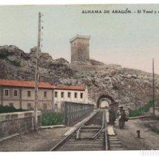 Postales: ALHAMA DE ARAGÓN - EL TUNEL Y EL CASTILLO. Lote 99742859
