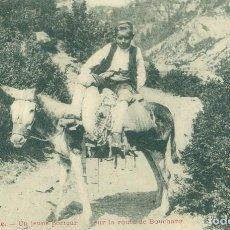 Postales: HUESCA. UN JOVEN ARAGONES EN BURRO. PUERTO DE BOUCHARO BUJARUELO GAVARNIE. HACIA 1905.RARA. Lote 101933083