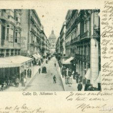 Postales: ZARAGOZA. CALLE D.ALFONSO I. CIRCULADA EN 1908. ED. KINDER Y CO. MUY RARA.. Lote 102727363