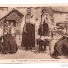 Postales: VILLANUEVA DE AEZCOA.- HILANDERAS DE LANA Y LINO. . Lote 104070919