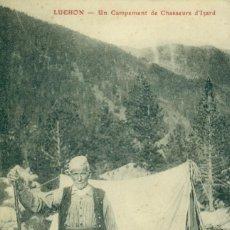 Postales: HUESCA PIRINEOS. CAMPAMENTO DE CAZADORES DE SARRIOS. FOTO CANTALOUP. CIRCULADA EN 1918. RARA.. Lote 104712151