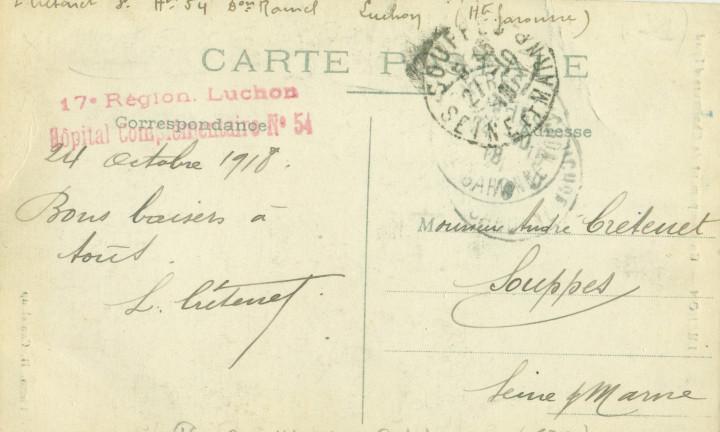 Postales: HUESCA PIRINEOS. CAMPAMENTO DE CAZADORES DE SARRIOS. FOTO CANTALOUP. CIRCULADA EN 1918. RARA. - Foto 2 - 104712151