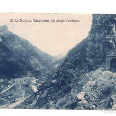 Postales: CANFRANC, HUESCA.-LA TROMBA. TUNEL NUMERO16 ABAJO CANFRANC FERROCARRIL. ED. F. DE LAS HERAS. Lote 107611071