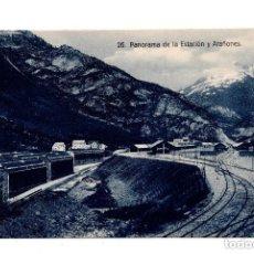 Postales: CANFRANC, HUESCA.- PANORAMA DE LA ESTACIÓN Y ARADOÑES - FERROCARRIL. ED. F. DE LAS HERAS. Lote 107611467