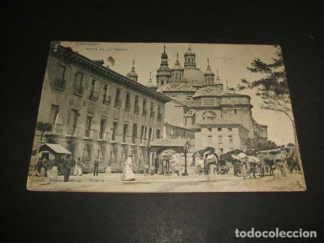 ZARAGOZA VISTA DE LA RIBERA HAUSER Y MENET REVERSO SIN DIVIDIR (Postales - España - Aragón Antigua (hasta 1939))