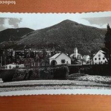 Postales: POSTAL BIESCAS PUENTE SOBRE EL GÁLLEGO Y BARRIO DE LA PEÑA - ZARAGOZA ARAGÓN AÑO 1958. Lote 110257291