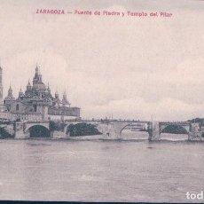 Postales: POSTAL ZARAGOZA - PUENTE DE PIEDRA Y TEMPLO DEL PILAR. Lote 110356631