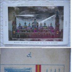 Postales: XIX CENTENARIO DE LA VIRGEN DEL PILAR, ZARAGOZA 1940 * 1908-1908 EL TEMPLO DEL PILAR ILUMINADO. Lote 115627731