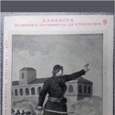 Postales: POSTAL N°9 ZARAGOZA CENTENARIO DE LOS SITIOS 1908. Lote 118765219