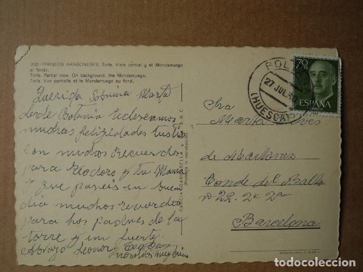 Postales: Postal 302 Torla Vista parcial y el Mondarruego al fondo. Huesca. Circulada - Foto 2 - 118819667