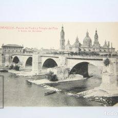 Postales: ANTIGUA POSTAL - ZARAGOZA, PUENTE DE PIEDRA Y TEMPLO DEL PILAR Nº 48 - EDIT. L. ROISIN - AÑOS 30. Lote 118887704