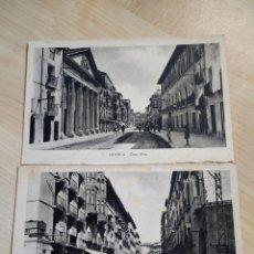 Postales: LOTE DE 2 POSTALES DEL COSO ALTO Y EL COSO BAJO DE HUESCA. ED. M. ARRIBAS. NO CIRCULADAS.. Lote 120622010