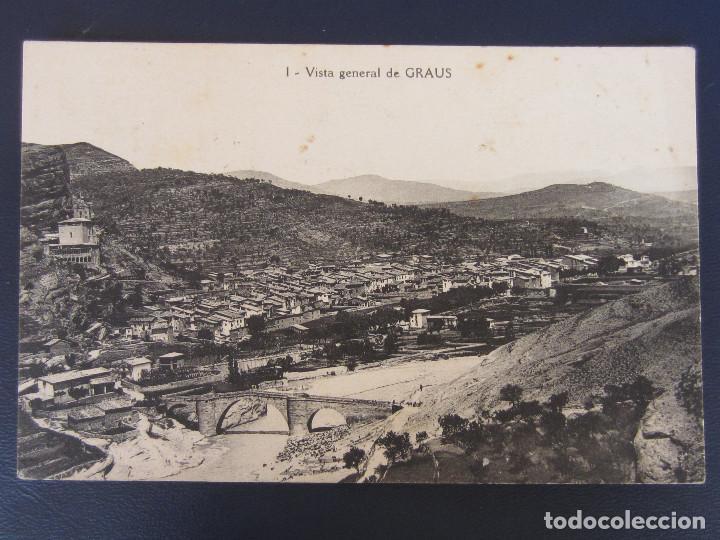 GRAUS - 1 VISTA GENERAL DE GRAUS , FOT. J. AGUILAR (Postales - España - Aragón Antigua (hasta 1939))