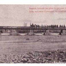 Postales: PASARELA FORMADA POR PILAS DE GAVIONES SOBRE EL RIO ARBA, EN LUECIA (ZARAGOZA)-AYUNTAMIENTO DE BIOTA. Lote 128053019