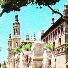 Postales: ZARAGOZA -FUENTE PLAZA DE LA SEO- (COMERCIAL JOSAN Nº 21) CIRCULADA 1963 / P-4247. Lote 128579787