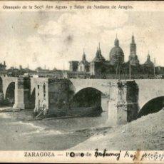 Postales: ZARAGOZA – EL PILAR – PUENTE ROMANO – SOCIEDAD ANA AGUAS Y SALES DE MEDIANA - CIRCULADA - 9 X 14.. Lote 131919158