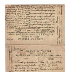 Postales: TARGETA MILICIES ANTIFEIXISTES 1936 ENVIADA DE BARCELONA A 2ª COLUMNA ORTIZ EN AZAILA (TERUEL). Lote 132017990