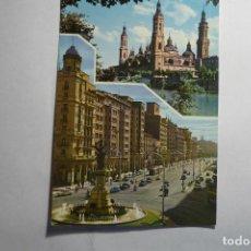 Postales: POSTAL ZARAGOZA.-TEMPLO PILAR Y AV.INDEPENDENCIA CM. Lote 132791182