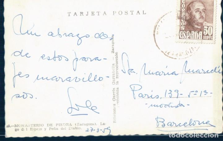 Postales: POSTAL MONASTERIO DE PIEDRA - ZARAGOZA - LAGO DEL ESPEJO Y PEÑA DEL DIABLO - GARRABELLA - CIRCULADA - Foto 2 - 133286266