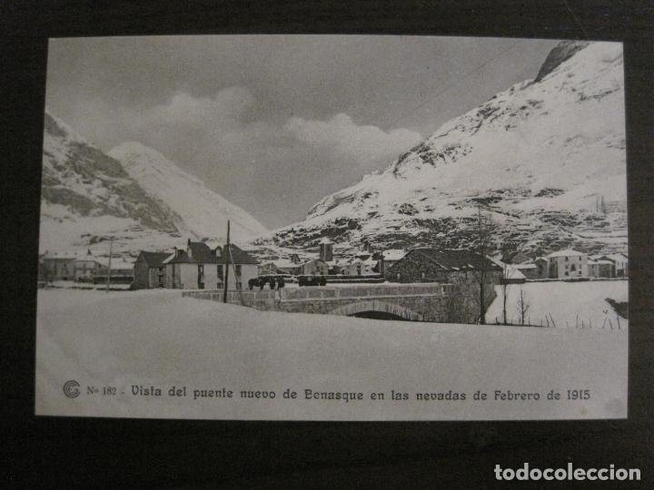 CATALANA DE GAS-182-PUENTE NUEVO BENASQUE-OBRAS SALTO DEL RUN-HUESCA-POSTAL ANTIGUA-(53.907) (Postales - España - Aragón Antigua (hasta 1939))