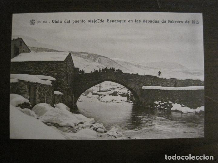 CATALANA DE GAS-183-PUENTE VIEJO DE BENASQUE-OBRAS SALTO DEL RUN-HUESCA-POSTAL ANTIGUA-(53.908) (Postales - España - Aragón Antigua (hasta 1939))