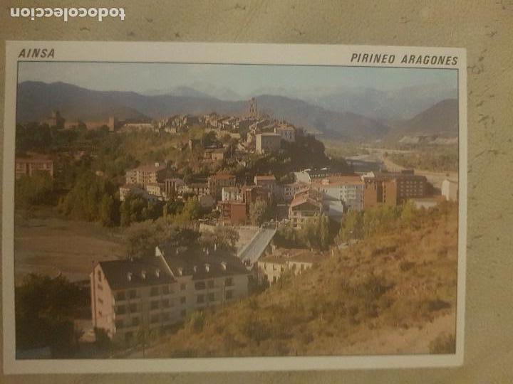 POSTAL DE AINSA, PIRINEO ARAGONES, VISTA GENERAL. AL FONDO EL MONTE PERDIDO, 1989. (Postales - España - Aragón Moderna (desde 1.940))
