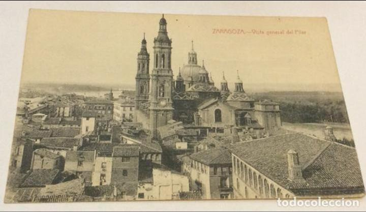 POSTAL ZARAGOZA VISTA GENERAL DEL PILAR (Postales - España - Aragón Antigua (hasta 1939))