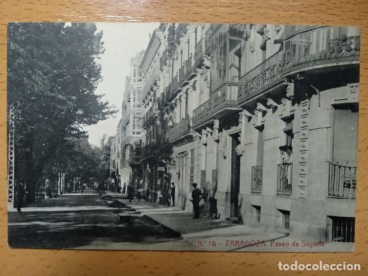 ZARAGOZA PASEO DE SAGASTA. THOMAS. PUBLICIDAD REVERSO JABONES LUIS SANZ.. (Postales - España - Aragón Antigua (hasta 1939))