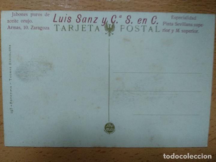 Postales: ZARAGOZA PASEO DE SAGASTA. THOMAS. PUBLICIDAD REVERSO JABONES LUIS SANZ.. - Foto 2 - 140902774