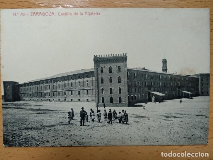 ZARAGOZA CASTILLO ALJAFERIA. THOMAS. PUBLICIDAD REVERSO JABONES LUIS SANZ.. (Postales - España - Aragón Antigua (hasta 1939))