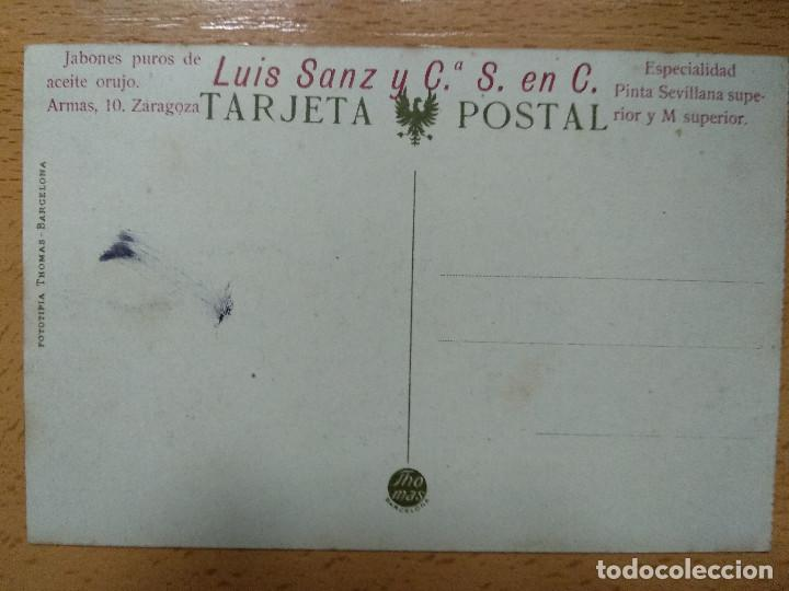 Postales: ZARAGOZA CASTILLO ALJAFERIA. THOMAS. PUBLICIDAD REVERSO JABONES LUIS SANZ.. - Foto 2 - 140902974