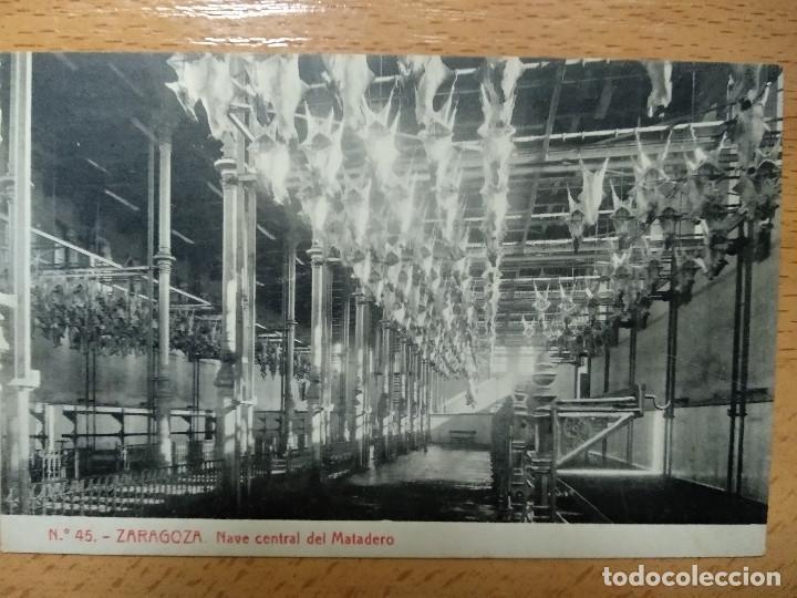 ZARAGOZA NAVE CENTRAL DEL MATADERO. THOMAS. PUBLICIDAD REVERSO JABONES LUIS SANZ.. (Postales - España - Aragón Antigua (hasta 1939))