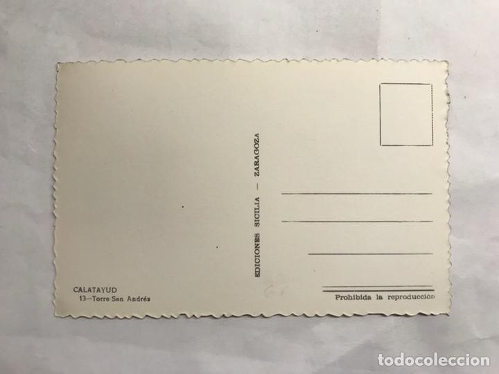 Postales: CALATAYUD (Zaragoza) Postal No.13, Torre de San Andres. Edita: ediciones Sicilia (h.1950?) - Foto 2 - 140953086