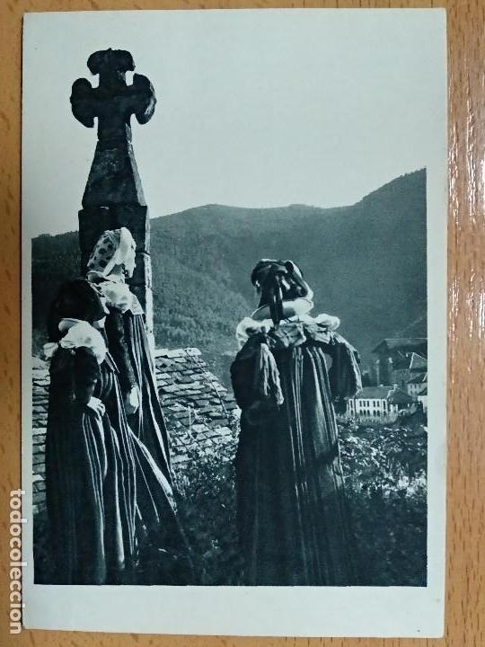 VALLE DE ANSO (HUESCA): ANSOTANAS EN TRAJE DE FIESTA, CRUZ... (FOURNIER VITORIA) (Postales - España - Aragón Antigua (hasta 1939))