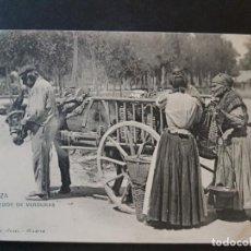 Postales: ZARAGOZA VENDEDOR DE VERDURAS HAUSER Y MENET REVERSO SIN DIVIDIR. Lote 147255210