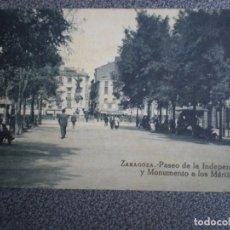 Postales: ARAGON ZARAGOZA PASEO DE LA INDEPENDENCIA POSTAL ANTIGUA. Lote 147445753
