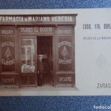 Postales: ZARAGOZA FARMACIA MARIANO HEREDIA POSTAL ANTIGUA. Lote 148124042