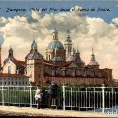 Postales: ZARAGOZA – 6 – VISTA DEL PILAR DESDE EL PUENTE DE PIEDRA. SC. Lote 149481554