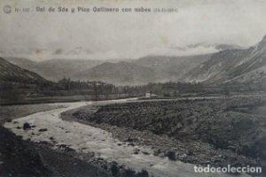 1914 Val de Sós y Pico Gallinero con nubes. Salto de El Run. Huesca. Catalana de gas y electricidad