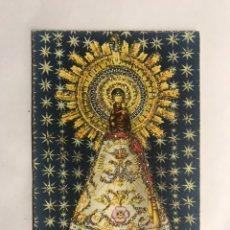 Postales: ZARAGOZA. POSTAL IMAGEN DE LA VIRGEN DEL PILAR....HERMOSA ESTAMPA DECORADA (H.1950?). Lote 151711730